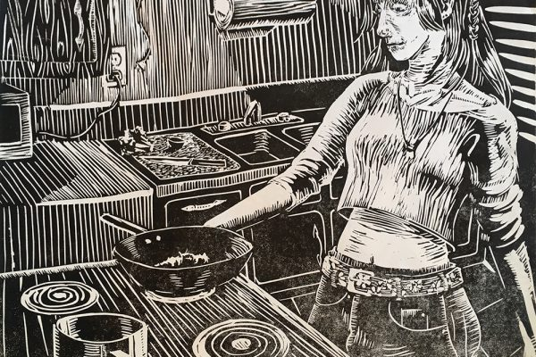 linocut-cooking